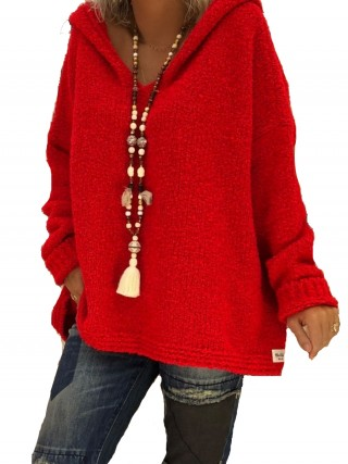 Splendor Red Sweater Solid Color Hip-Length Casual Fashion