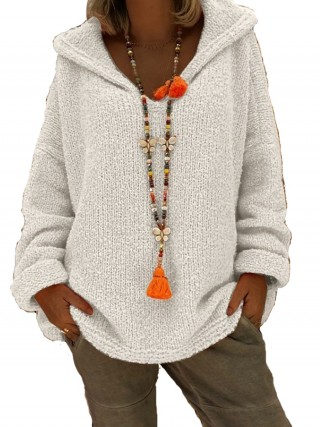 Alluring White Solid Color Sweater Hooded Collar Ultra Hot