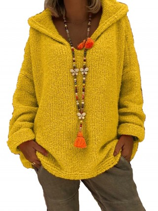 Snug Fit Yellow Hooded Neck Plus Size Sweater Womens Clothes