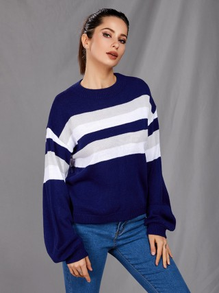 Exquisite Blue Drop Shoulder Stripe Paint Sweater Soft-Touch
