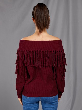 Explicitly Chosen Wine Red Off Shoulder Sweater Tassel Solid Color