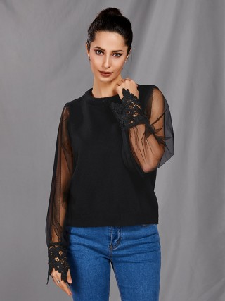 National Black Sweater Sheer Mesh Floral Lace Loose