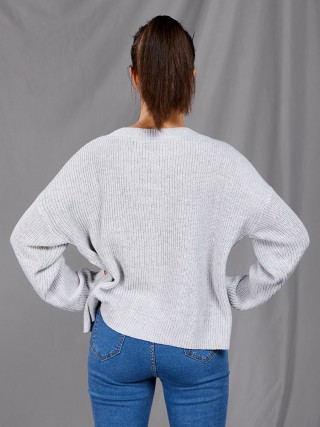 Vivifying Silver Full Sleeve Pearl Crew Neck Sweater Evening Romance