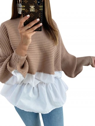 Appealing Coffee Color Sweater Full Sleeve Patchwork Knit Wholesale
