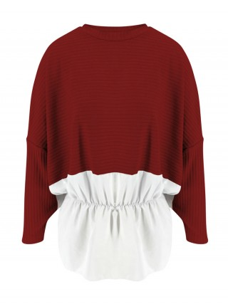 Endearing Red Long Sleeve Sweater Round Collar Womens Trendy Clothes