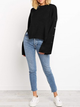 Good-Looking Black Solid Color Sweater High-Low Hem For Women