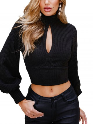Colorful Black Sweater High Neck Cropped Bow-Knot Women Outfit