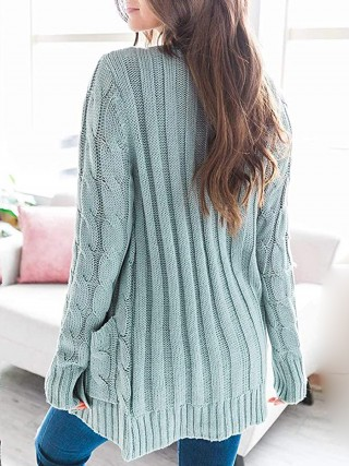 Classic Green Knit Cardigan Open Front Solid Color Comfort Fit