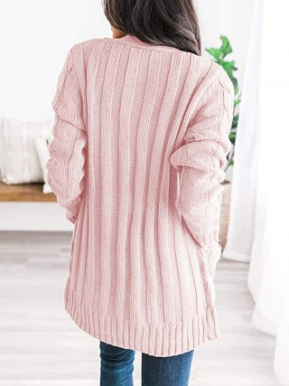 Luscious Curvy Pink Hip Length Solid Color Knit Cardigan Regular Fit