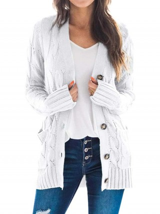Desirable White Button Pockets Long Sleeve Cardigan Superior Quality