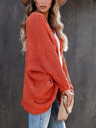 Energetic Orange Cardigan Full Sleeve Side Pockets Online Wholesale
