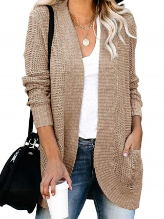 Khaki Cardigan Open Front Pockets Knit Womens Fashion Shopping