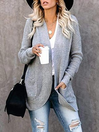 Light Gray Widened Hem Hip Length Knit Cardigan For Street Snap
