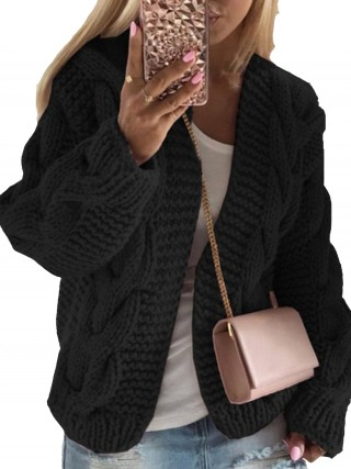 Ultimate Fashion Black Widened Hem Cardigan Open Front Leisure