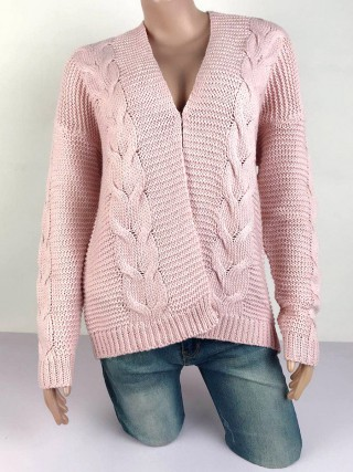 Glamorous Light Purple Twist Knit Pattern Long Sleeve Cardigan Fashion