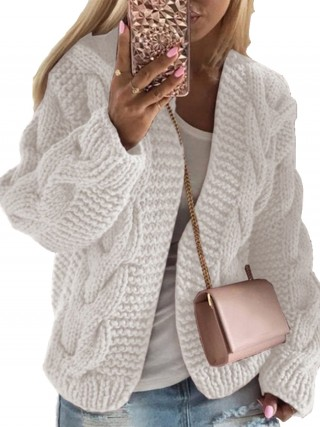 Natural White Solid Color High Stretch Cardigan Classic Clothing