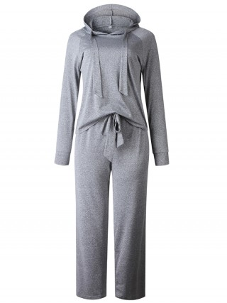 Fresh Gray Drawstring Top And Wide Leg Pants Elasticity
