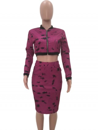 Consummate Purple Stand-Up Collar Top Elastic Waist Skirt Fashion Design