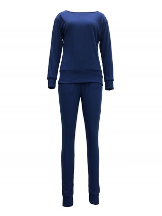Modern Royal Blue Boat Collar Top Ankle Length Pants Outfit