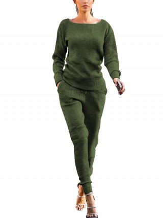 Attractive Army Green Hip-Length Top Side Pockets Pants Tops For Women