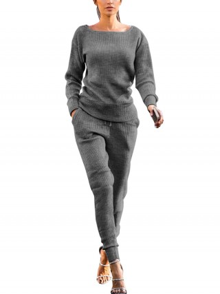 Fad Gray Long Sleeve Top Full Length Pants Elegance