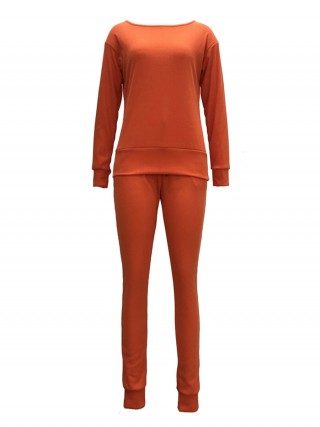 Stretch Orange Solid Color Drawstring Two Pieces Breathable