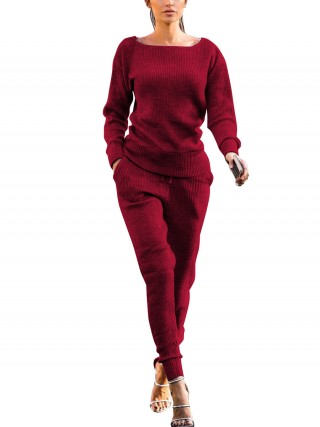 Desirable Wine Red Two-Piece Suits Rib Solid Color Female Fashion