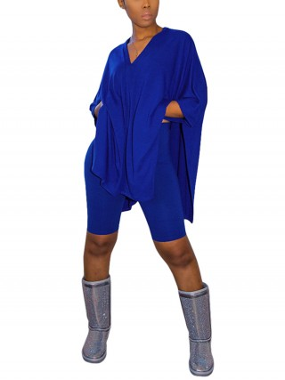 Versatile Royal Blue 2 Piece V Neck Top Sold Color Shorts