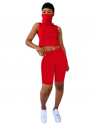 Homelike Red Sleeveless Women Suit Solid Color Street Style