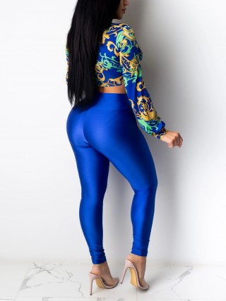 Conservative Blue Long Sleeves Knot Top High Rise Pants For Women