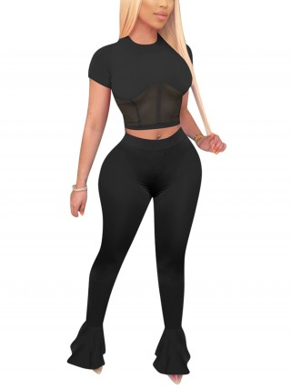 Ultra Sexy Black Solid Color High Waist Pants Set Fashion Style