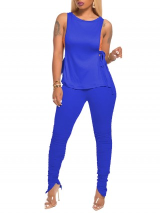 Particularly Dark Blue Tank Shirt Side Slit Ruched Pants Comfort Fashion