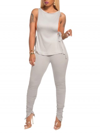 Inviting Light Gray Tie Tank Top High Waist Leggings Slim Fit