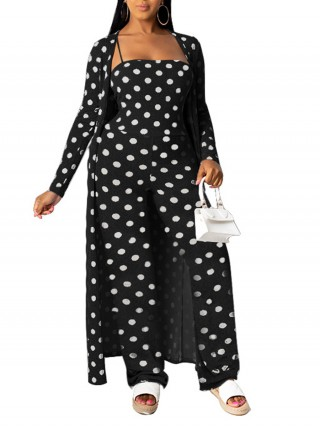 Refreshing Black Two-Piece Sling Jumpsuit Cardigan Set Street Style