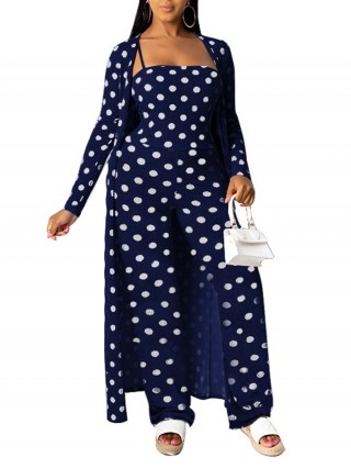 Individualized Navy Blue Long Cardigan With Romper Slender Strap