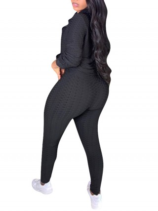 Black Sweat Suit Jacquard Weave Solid Color Women's Clothing
