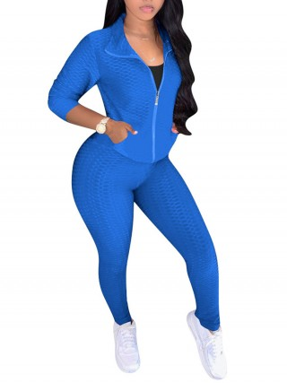 Royal Blue Zipper Front Turndown Collar Women Sets Chic Online