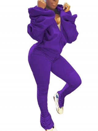 Purple Zipper Solid Color Ankle Length Women Set Ladies Elegance