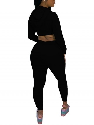 Black Full Sleeve Crop Top Drawstring Pants Girls Fashion