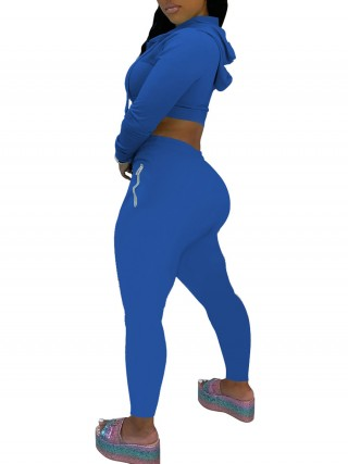 Sweat Suit High Waist Blue Hooded Collar Ladies Fashion