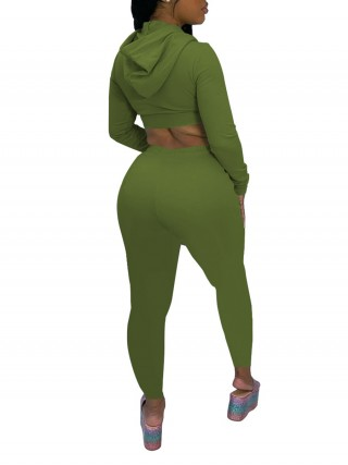 Green Drawstring Women Suit Ankle Length Zipper Fashion Forward
