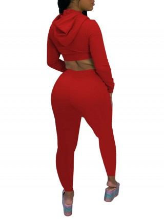 Full Length Red Sweat Suit Solid Color Superior Quality