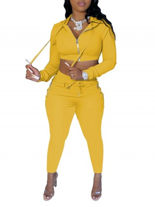 Yellow Cropped Top With Zipper Drawstring Leggings For Women