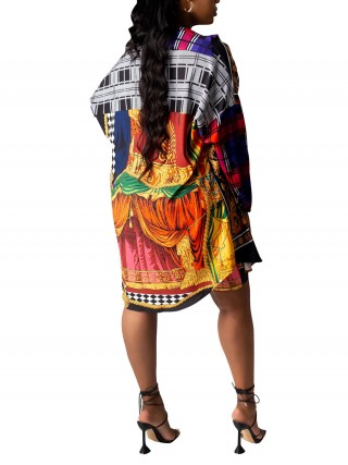 Lapel Neck Printed Shirt Dress With Shorts Female Fashion
