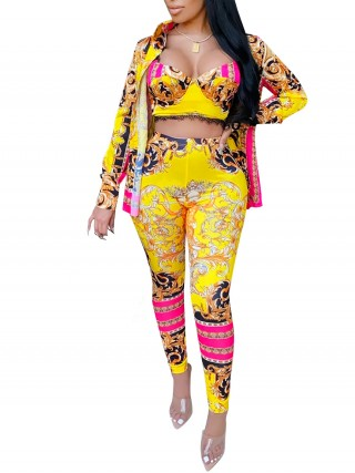 Yellow High Waist Print 3 Piece Outfits Front Open For Ladies