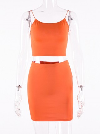 Orange Sling Low Back Top Tight Skirt Superior Comfort