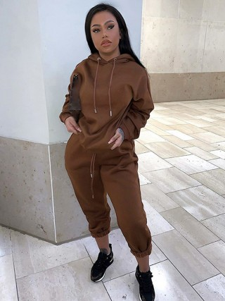 Brown Drawstring Drop Shoulder Two-Piece Outfit Pullover