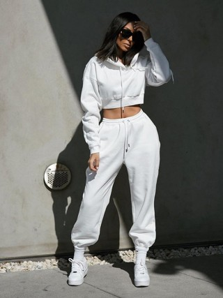 White Drawstring Elastic Ankle Two-Piece Outfit All Over Smooth