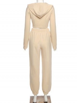 Beige Irregular Hem Hooded Neck 2-Piece Outfit Free Time
