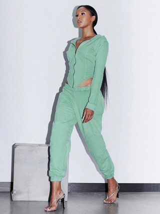 Green Front Zipper Two-Piece Outfit Elastic Ankle Women Fashion Style